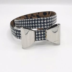 Betsey Johnson Houndstooth Bow Buckle Belt